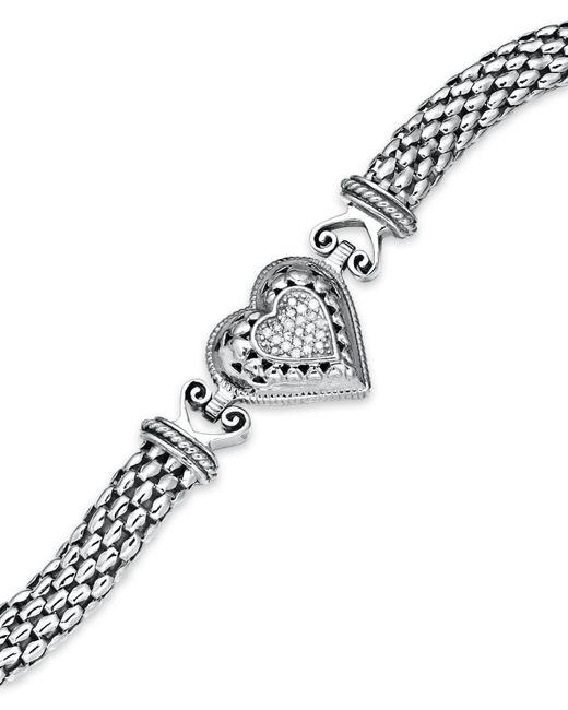 Macy's - Metallic Diamond Mesh Heart Bracelet In Sterling Silver (1/6 Ct. T.w.) - Lyst
