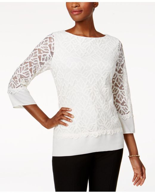 Charter Club | White Lace Top | Lyst