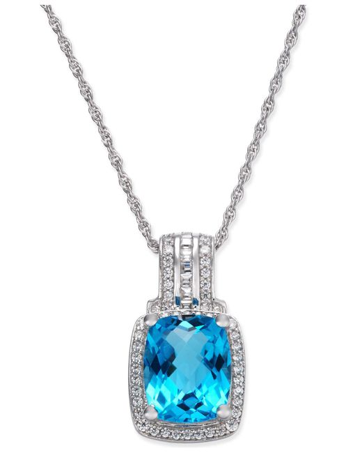 Macy's - Blue Topaz (2-1/3 Ct. T.w.) & Diamond (1/5 Ct. T.w.) Pendant Necklace In 14k White Gold - Lyst