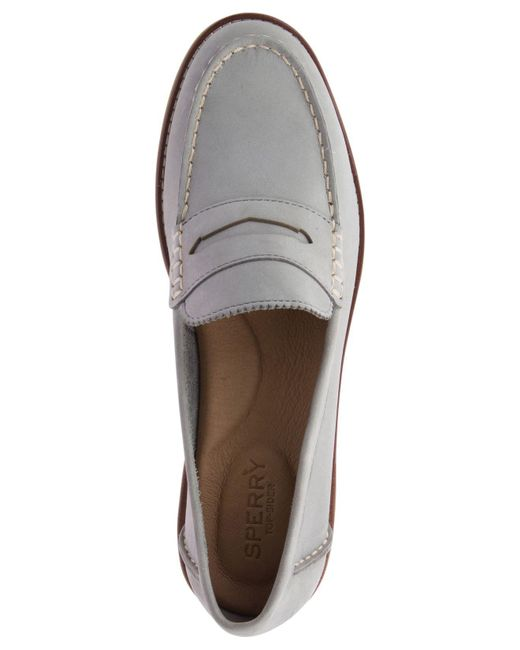 7e0260a01d7b25 ... Sperry Top-Sider - Gray Seaport Penny Memory Foam Loafers - Lyst ...
