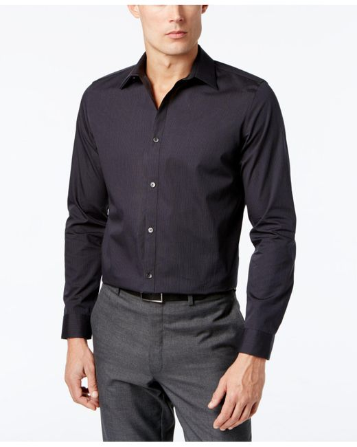 CALVIN KLEIN 205W39NYC - Black Infinite Cool Striped No-iron Shirt for Men - Lyst