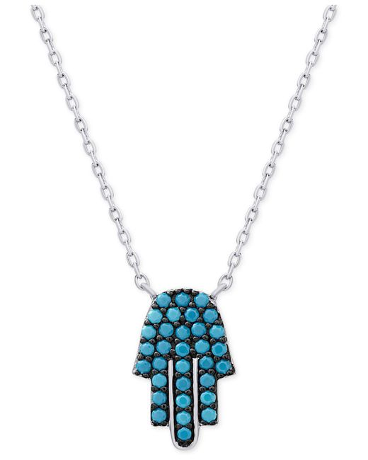 Macy's - Metallic Manufactured Turquoise Hamsa Necklace In Sterling Silver - Lyst