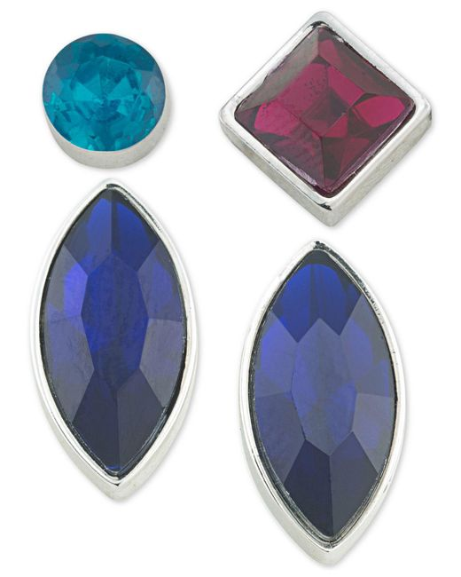 ABS By Allen Schwartz | Blue Silver-tone 4-pc. Mix-and-match Earring Set | Lyst