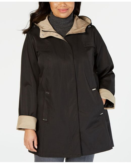 86faa990c2b Lyst - Jones New York Plus Size Hooded A-line Raincoat in Black