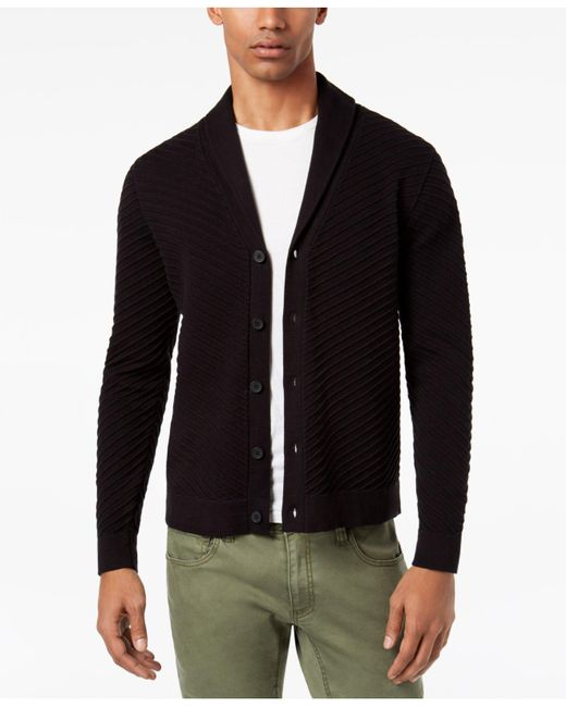 INC International Concepts | Black Men's Ribbed Cardigan for Men | Lyst