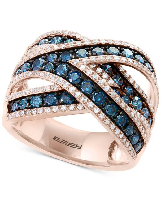 Effy Collection - Multicolor Bella Bleu By Effy® Diamond Crisscross Statement Ring (1-3/4 Ct. T.w.) In 14k Rose Gold - Lyst