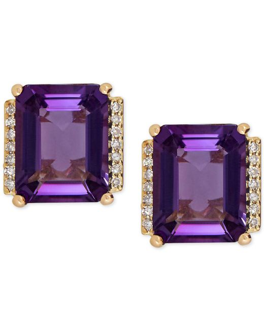 Macy's | Purple Amethyst (4-1/5 Ct. T.w.) And Diamond Accent Stud Earrings In 14k Gold | Lyst