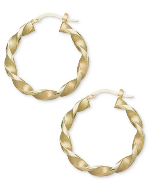 Macy's - Metallic 14k Gold Earrings, Small Twisted Hoop Earrings - Lyst