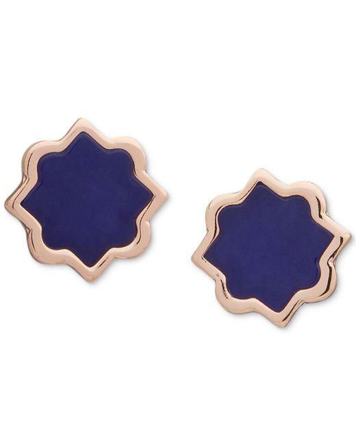 Ivanka Trump - Blue Rose Gold-tone Stone Stud Earrings - Lyst