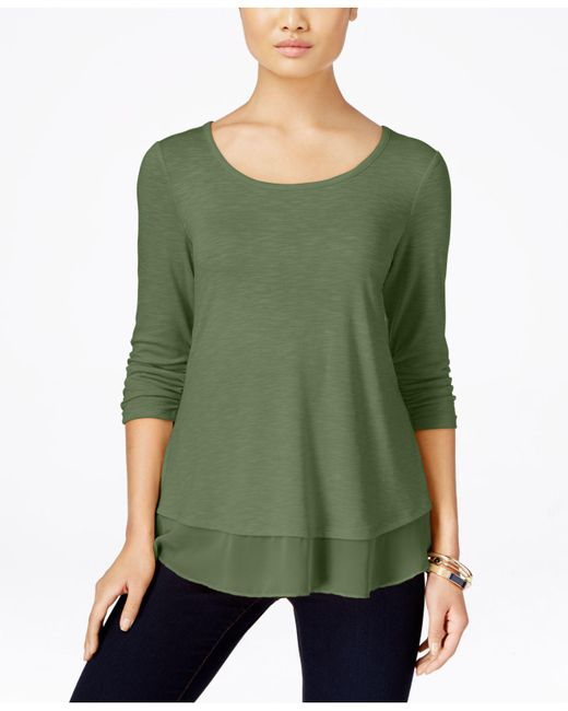 Style & Co. - Green Petite Chiffon-hem Top, Created For Macy's - Lyst