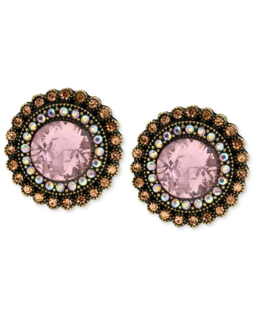 Betsey Johnson - Pink Gold-tone Crystal Gem Button Stud Earrings - Lyst