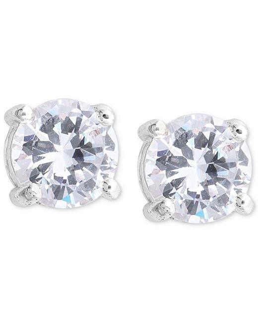 Nine West | Metallic Earrings, Silver-tone Round-cut Crystal Stud Earrings | Lyst