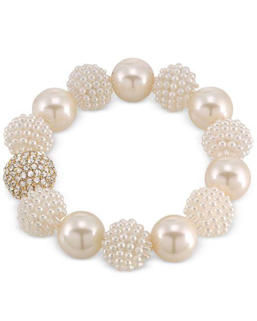 Carolee - Metallic Gold-tone Imitation Pearl And Fireball Stretch Bracelet - Lyst