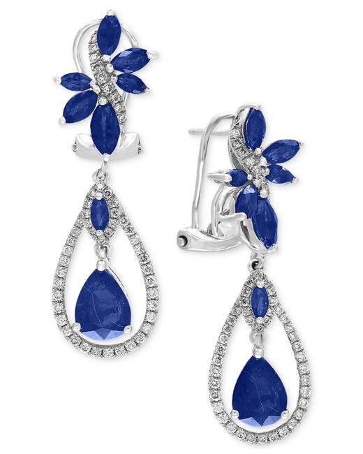 Effy Collection - Blue Sapphire (4-3/4 Ct. T.w.) And Diamond (5/8 Ct. T.w.) Fancy Drop Earrings In 14k White Gold - Lyst