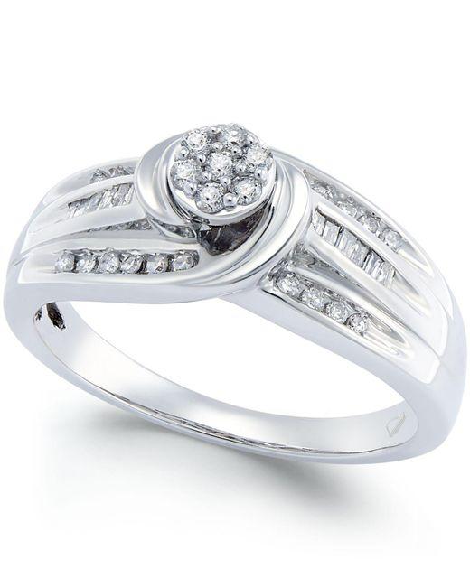 Macy's | White Diamond Swirl Promise Ring (1/4 Ct. T.w.) In Sterling Silver | Lyst