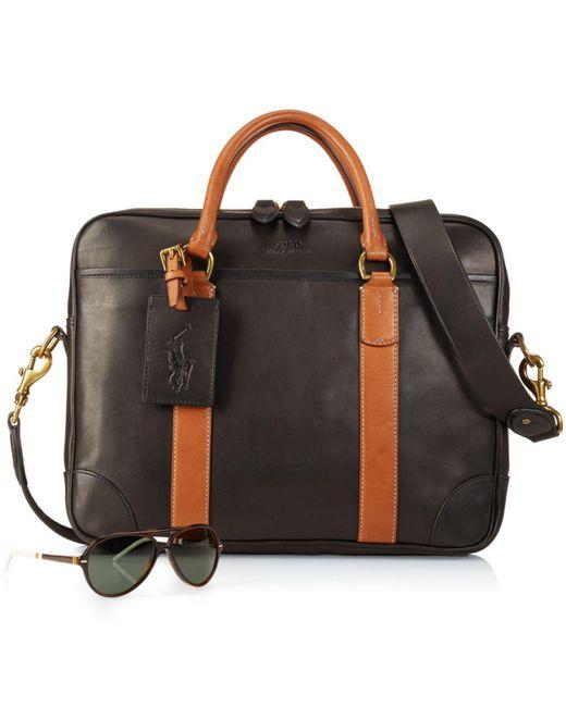 Polo Ralph Lauren   Black Leather Commuter Bag for Men   Lyst