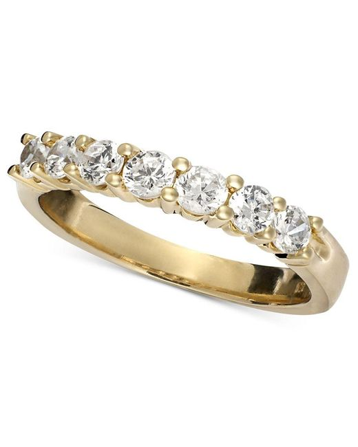 Macy's | Metallic Seven Diamond Band Ring In 14k Yellow Or White Gold (3/4 Ct. T.w.) | Lyst