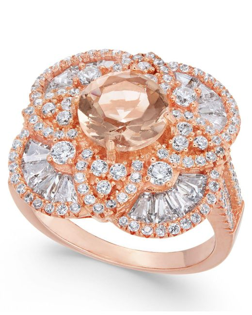 Macy's | Metallic Synthetic Morganite & Cubic Zirconia Filigree Floral Ring In 14k Rose Gold-plated Sterling Silver | Lyst