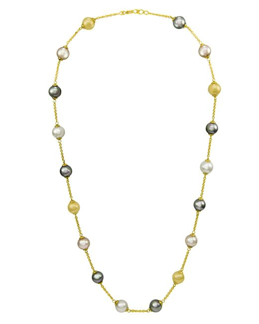 Majorica | White 18k Gold Over Sterling Silver Multicolor Organic Man Made Pearl Illusion | Lyst