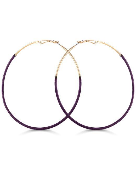 Guess - Purple Thread-wrapped Hoop Earrings - Lyst