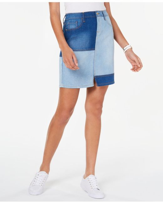 e50038180e Tommy Hilfiger Patchwork Denim Skirt, Created For Macy's in Blue - Lyst