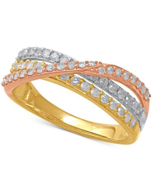 Macy's - Metallic Diamond Tri-color Crisscross Statement Ring (1/2 Ct. T.w.) In 14k Gold, Rose Gold & White Rhodium-plate - Lyst