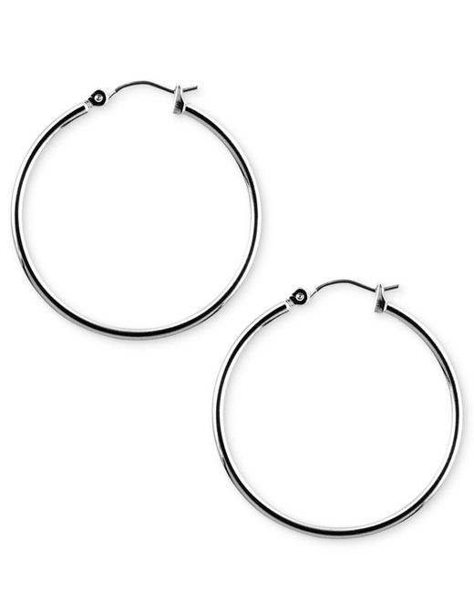 Nine West - Metallic Earrings, Silver-tone Hoop Earrings - Lyst