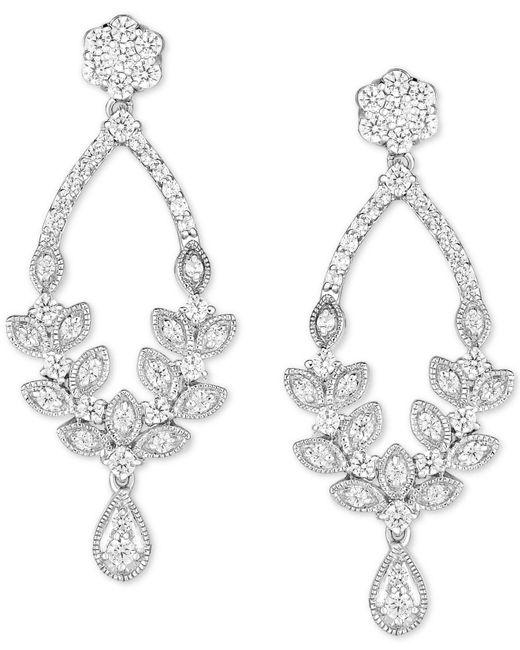 Lyst macys diamond chandelier earrings 1 ct tw in 14k white macys metallic diamond chandelier earrings 1 ct tw in 14k white gold aloadofball Images