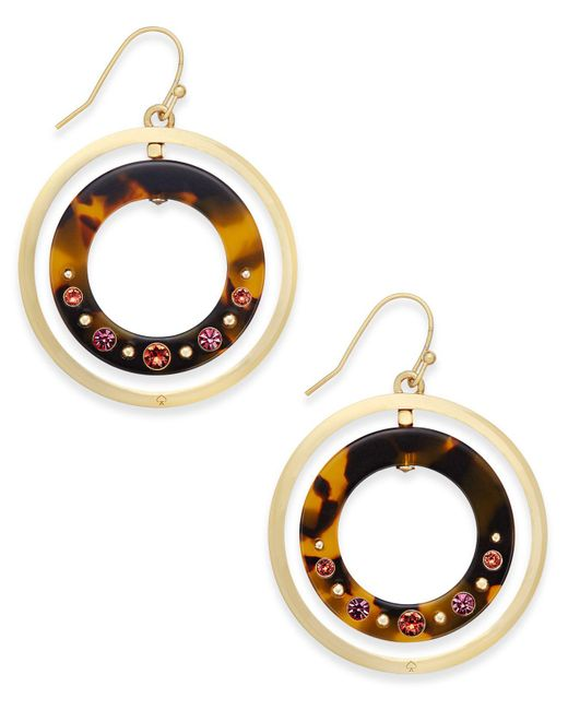 Kate Spade | Metallic Out Of Her Shell Gold-tone Tortoiseshell-look Orbital Earrings | Lyst