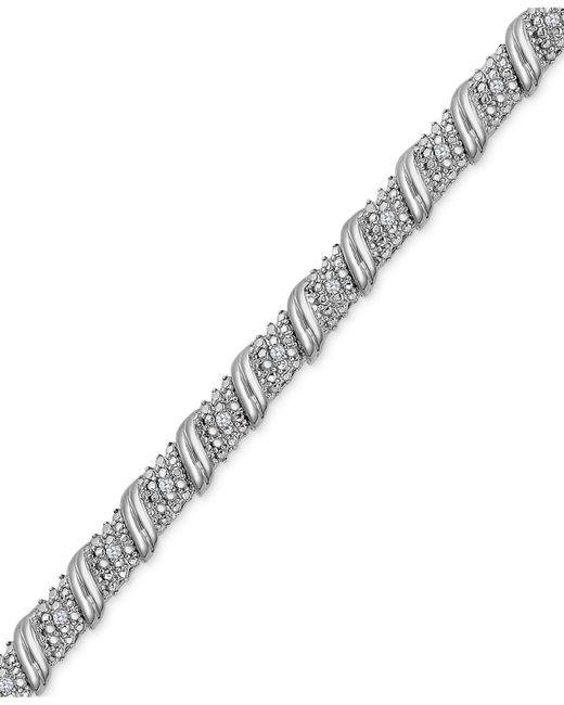 Macy's Metallic Diamond Diagonal Bracelet (1/4 Ct. T.w.) In Sterling Silver