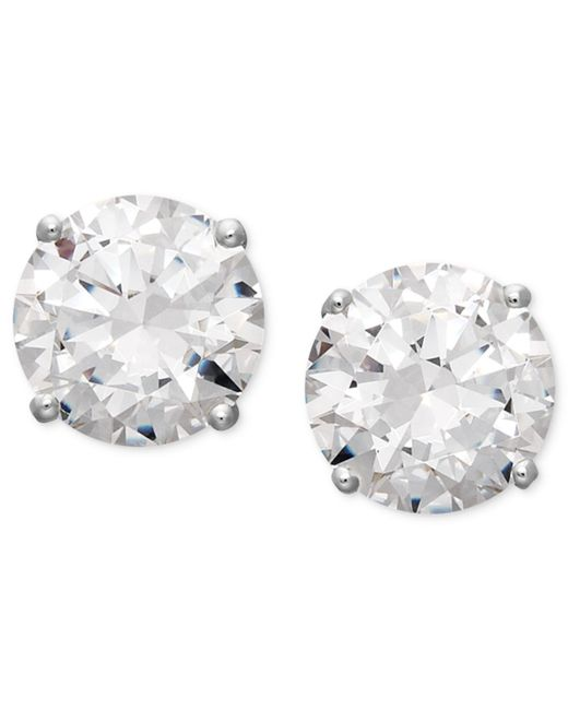 Arabella | Metallic Swarovski Zirconia Round Stud Earrings (3-1/2 Ct. T.w.) | Lyst