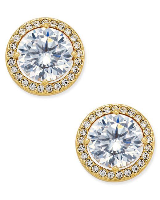 Danori | Metallic Gold-tone Cubic Zirconia Framed Stud Earrings | Lyst