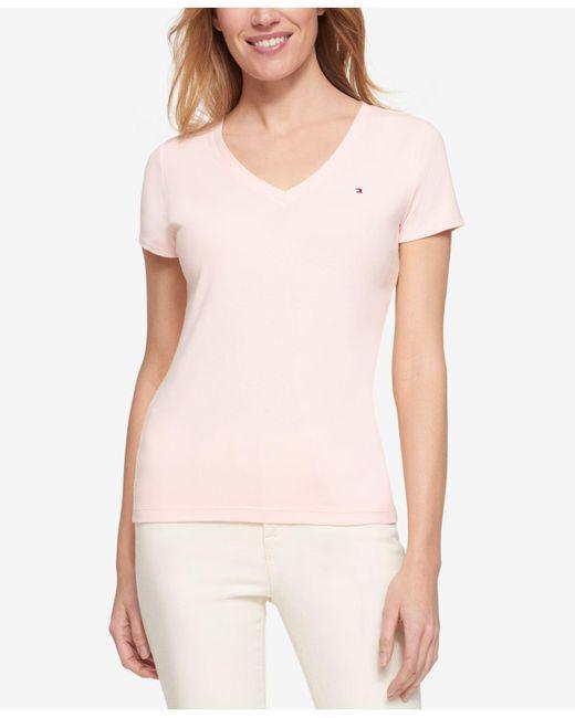 Tommy Hilfiger - Pink Short-sleeve V-neck Tee - Lyst