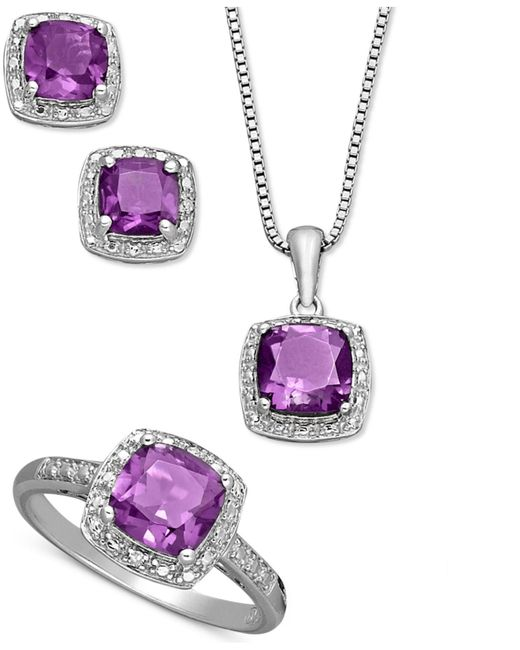 Macy's - Purple Sterling Silver Jewelry Set, Cushion Cut Amethyst Pendant, Earrings And Ring Set (4-1/3 Ct. T.w.) - Lyst