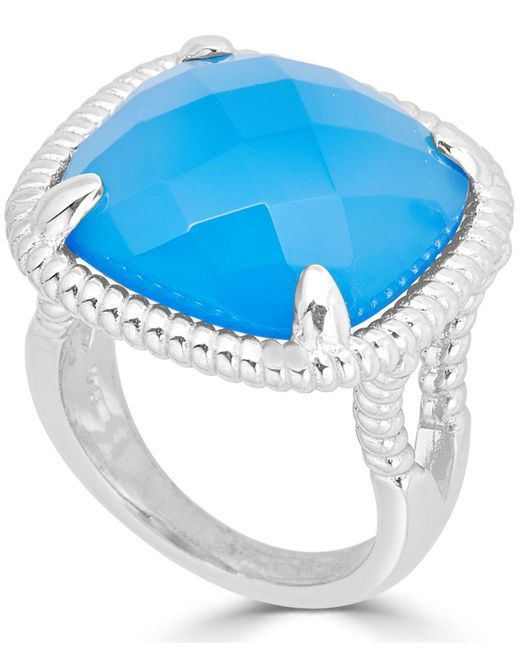 Macy's - Metallic Blue Agate Twist Frame Statement Ring In Sterling Silver - Lyst