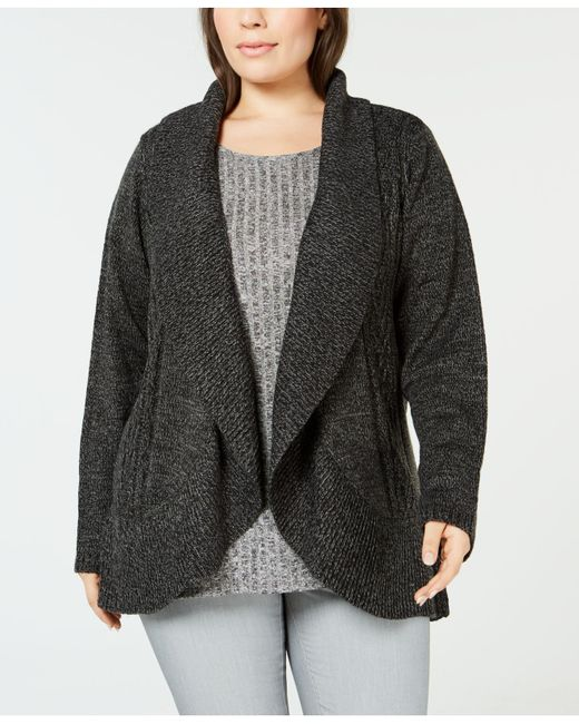 Karen Scott - Black Plus Size Cocoon Cardigan Sweater, Created For Macy's - Lyst