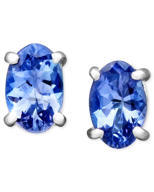 Macy's | 14k White Gold Earrings, Oval Tanzanite Stud (7/8 Ct. T.w.) | Lyst