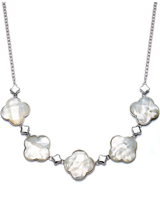 Macy's - Metallic Sterling Silver Necklace, Mother Of Pearl Clover Frontal Necklace - Lyst