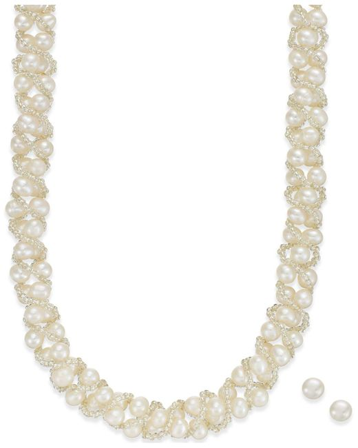Macy's - Metallic Cultured Freshwater Pearl Necklace (4mm) And Stud Earrings (7-1/2mm) Set In Sterling Silver - Lyst