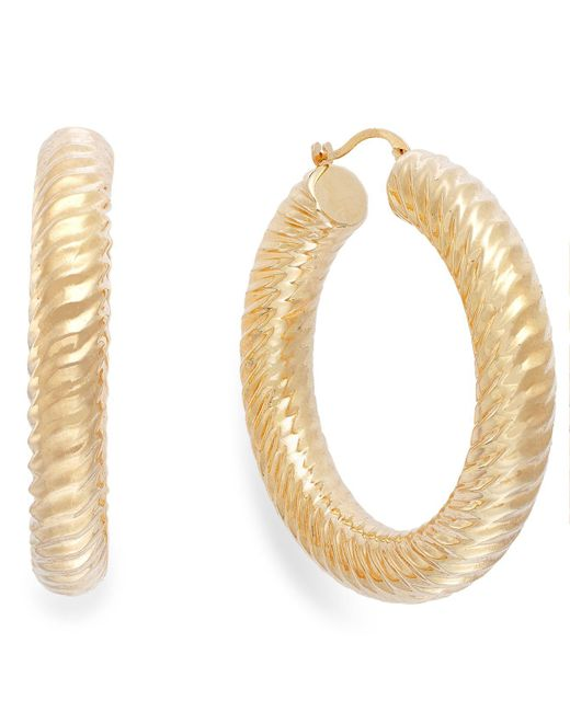 Signature Gold - Metallic Ribbed Hoop Earrings In 14k Gold - Lyst