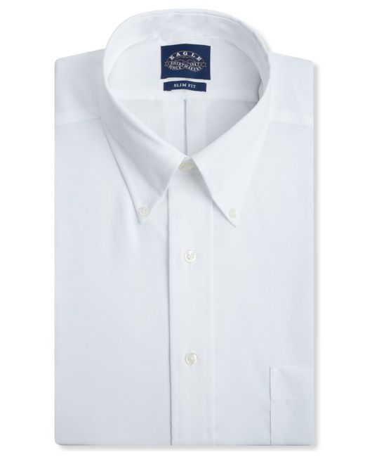 Eagle men 39 s slim fit non iron pinpoint dress shirt in for White non iron dress shirts