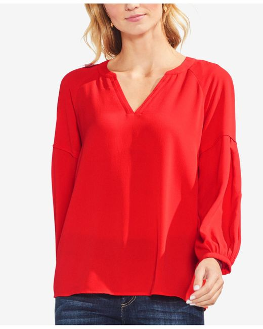 Vince Camuto - Red V-neck Top - Lyst