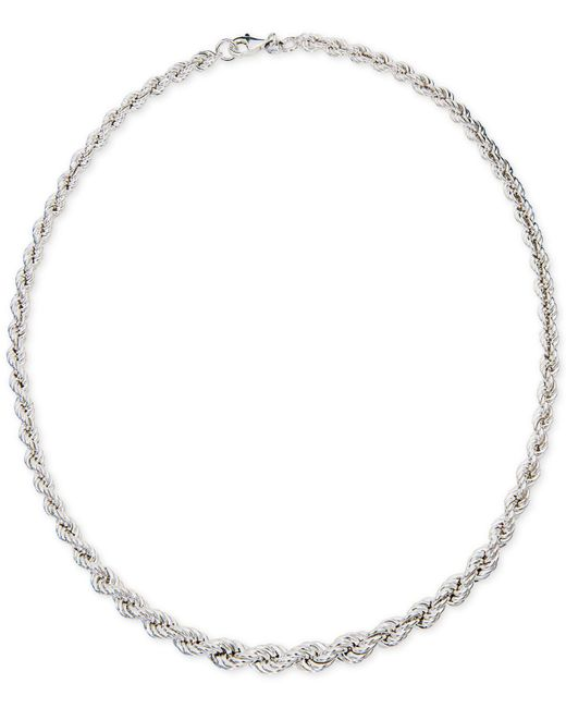"Giani Bernini - Metallic Graduated Rope 18"" Collar Necklace In Sterling Silver, Created For Macy's - Lyst"