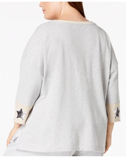 077e10f13b ... 525 America - Gray Plus Size Sequin-patch Sweatshirt
