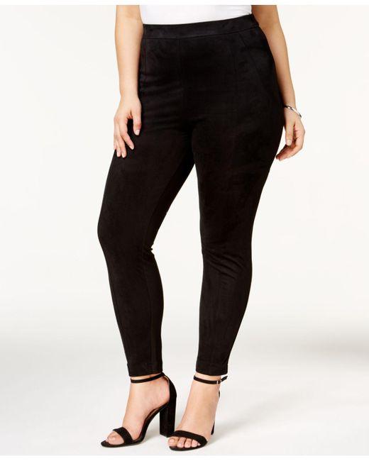 Love Scarlett - Black Plus Size Faux-suede Leggings - Lyst