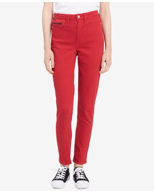 Calvin Klein Jeans - Red Skinny Ankle Jeans - Lyst