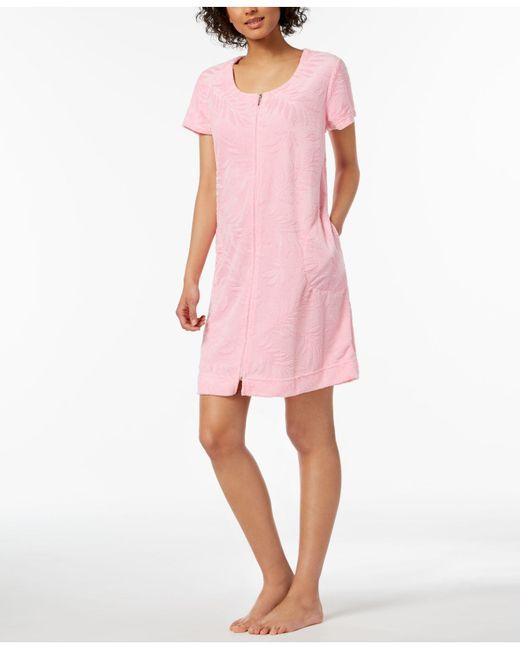 Miss Elaine - Pink Embossed-leaf Knit Robe - Lyst