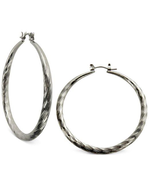 "Guess - Metallic Silver-tone 2"" Textured Hoop Earrings - Lyst"