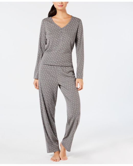 Lyst - Charter Club Cotton Long Sleeve Button Front Pajama Set ... c83b49024