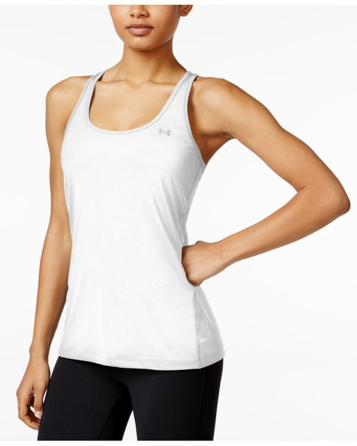 Under Armour - White Heatgear Racerback Tank Top - Lyst